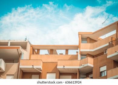 urbanization houses building closeup
