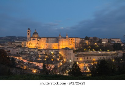 Urbino - famous renaissance town in Marche by night