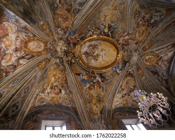 URBINO,  ITALY - JANUARY 3, 2019: crystal chandelier at the Oratorio di Santo Giuseppe or Oratory of St. Joseph