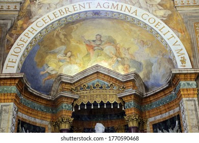 URBINO,  ITALY - JANUARY 3, 2019: Altarpiece at the Oratorio di Santo Giuseppe or Oratory of St. Joseph