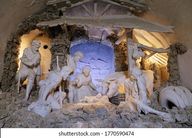 Urbino, Italy - March 24, 2019:  The Nativity of Brandani in the Oratory of San Giovanni Battista in Urbino