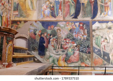 Urbino, Italy - March 24, 2019:  The wonderful frescoes of the life of Christ in the Oratory of San Giovanni Battista in Urbino