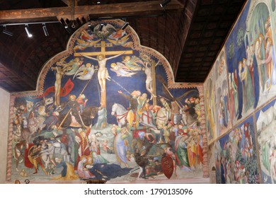 Urbino, Italy - March 24, 2019: Crucifixion of Jesus at Oratorio di San Giovanni Battista in Urbino, Italy