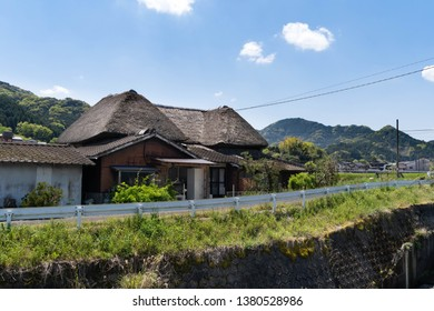 Ureshino city Saga prefecture JAPAN - April 18 2019: Japanese thatched roofed house is in rural area.