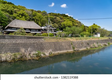 Ureshino city Saga prefecture JAPAN - April 18 2019: Japanese thatched roofed house is in rural area of Saga prefecture, JAPAN.