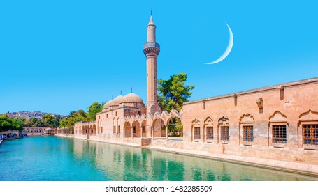 Urfa Holy Lake with sacred fish in Golbasi Park in the background crescent moon - Urfa, Turkey