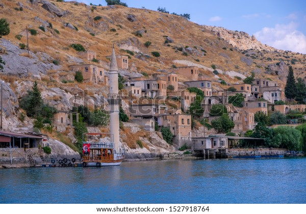 Urfa, Turkey - September, 2019:Old town of Halfeti, Sanliurfa, Turkey. The old town of Halfeti submerged under the rising waters.