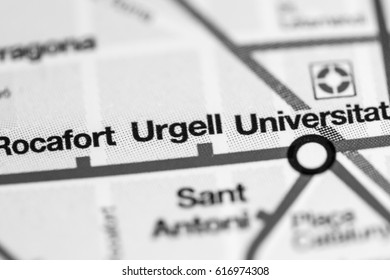 Urgell Station. Barcelona Metro map.