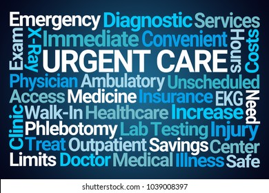 Urgent Care Word Cloud on Blue Background