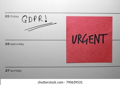 """URGENT"" Sticky Note Reminder for the General Data Protection Regulation (GDPR) - Friday 25 May 2018"