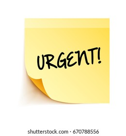 URGENT! word digitally written on a yellow post it note