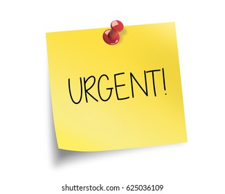 URGENT! written on a post it note with red pin.