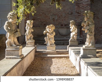 Urgnano, Bergamo, Italy. May 1, 2019. The statues in the inner garden of the medieval castle