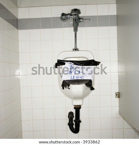 Urinal Mens Bathroom Out Order Sign Stock Photo Edit Now 3933862