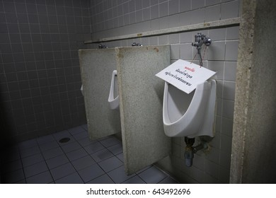 Urinals do not use in a men's bathroom.