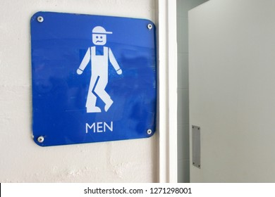 Urinary Urgency Toilet Sign for boys at the entrance to a public toilet