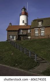 Urk, Flevoland, the Netherlands - February 21, 2017 : The lighthouse of Urk overviewing the IJsselmeer