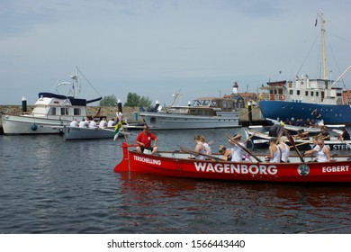 Urk, The Netherlands - june 03 2017: The rowing boats are preparing for the rowing contest during the Urkerdag event in the port of Urk