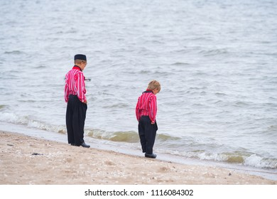 URK, NETHERLANDS - MAY 19, 2018: Unknown boys in traditional costumes on the Urkerdays. Urk is on of the best-known fishing villages in the country with the largest fishing fleet.
