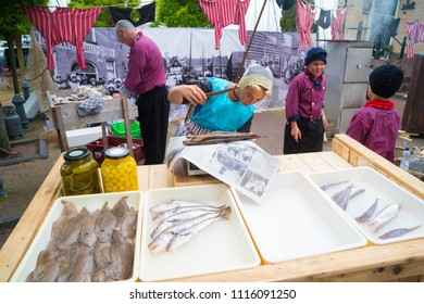 URK, NETHERLANDS - MAY 19, 2018: Bins with fresh fish for sale in a dutch fisherman's village