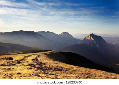Urkiola mountains with last rays of sun