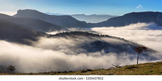 Urkiola natural park landscape in a foggy morning. Biscay, Spain