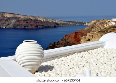 Urn on rooftop in Oia on the island of Santorini in New Zealand