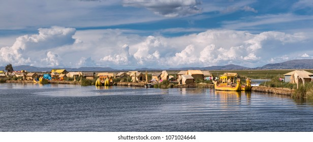 Uros floating island, lake Titicaca, Peru