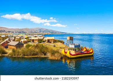 Uros floating island near Puno city, Peru
