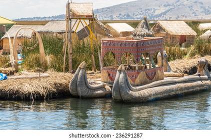 UROS ISLAND, PUNO, PERU: Floating island of Uros, in Puno, peru.