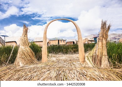 Uros, Peru - Jan 5, 2019. Entance gate of Uros floating islands on Titicaca lake in Puno, Peru, South America.
