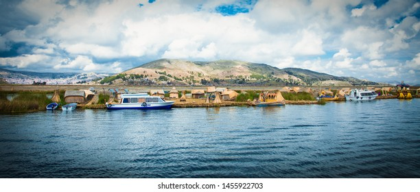 Uros, Peru - Jan 5, 2019. Uros floating islands on Titicaca lake in Puno, Peru, South America.