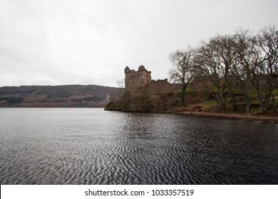 The Urquhart Castle at Loch Ness in scotland. A very popular castle at the scenic lake.