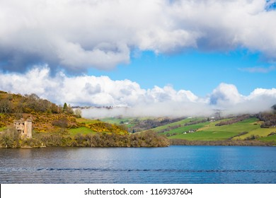 Urquhart Castle as seen from Loch Ness lake in the Highlands of Scotland
