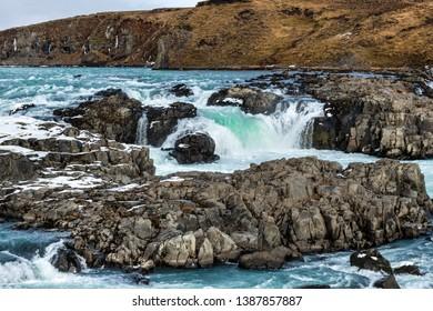 Urridafoss, the most voluminous waterfall in Iceland during winter season