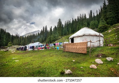 Urta nomadic house in the mountains of Kyrgyzstan, Central Asia