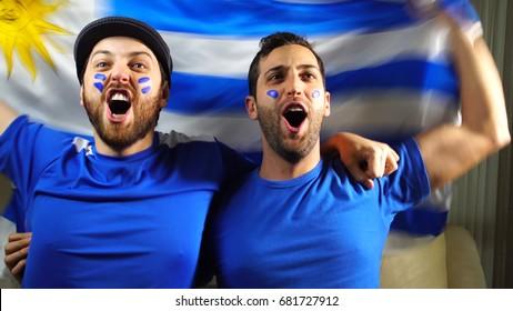 Uruguaian Friends Celebrating with Urugay Flag