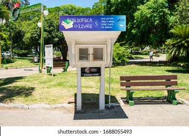 Uruguaiana, Brazil - Circa December 2019: Free library stand at the main square of Uruguaiana