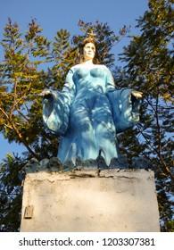 Uruguaiana, Brazil - Circa September 2018: Statue of Iemanja, a water deity from the Yoruba religion, near the Uruguay river