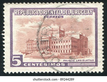 URUGUAY - CIRCA 1954: A stamp printed by Uruguay, shows Legislature Building, circa 1954