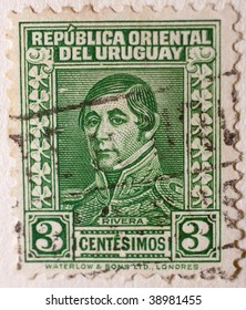 URUGUAY - CIRCA 1963: A stamp printed in the United States of America shows image of a man series, circa 1963