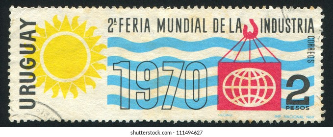 URUGUAY - CIRCA 1969: stamp printed by Uruguay, shows Industrial World Fair Emblem, circa 1969
