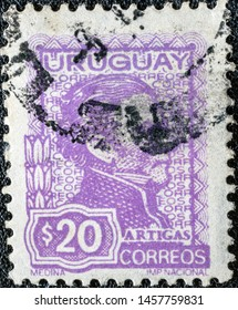 URUGUAY - CIRCA 1972: A stamp printed in Uruguay shows General Jose Artigas, circa 1972