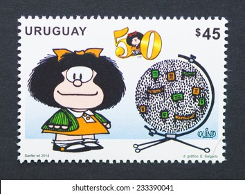 URUGUAY - CIRCA 2014: postage stamp printed in Uruguay showing an image of the cartoon character Mafalda, circa 2014.