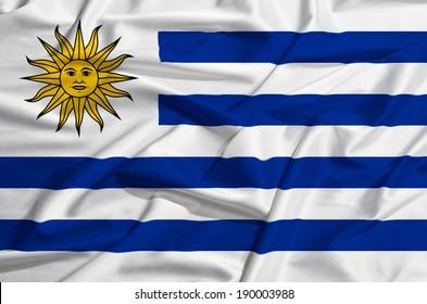 Uruguay flag on a silk drape waving