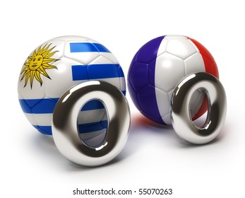 Uruguay and France match isolated on white