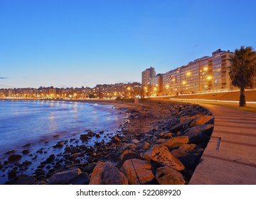 Uruguay, Montevideo, Twilight view of the Pocitos Coast on the River Plate.