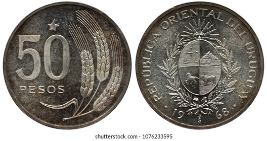 Uruguay Uruguayan silver coin 50 fifty peso 1968, trial issue, star and value left to three grain stalks, oval shield with scales, horse and cow flanked by sprigs, radian sun above,