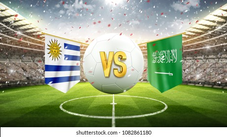 Uruguay vs Saudi Arabia. Soccer concept. White soccer ball with the flag in the stadium, 2018. 3d render