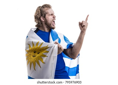 Uruguayan athlete / fan celebrating on white background